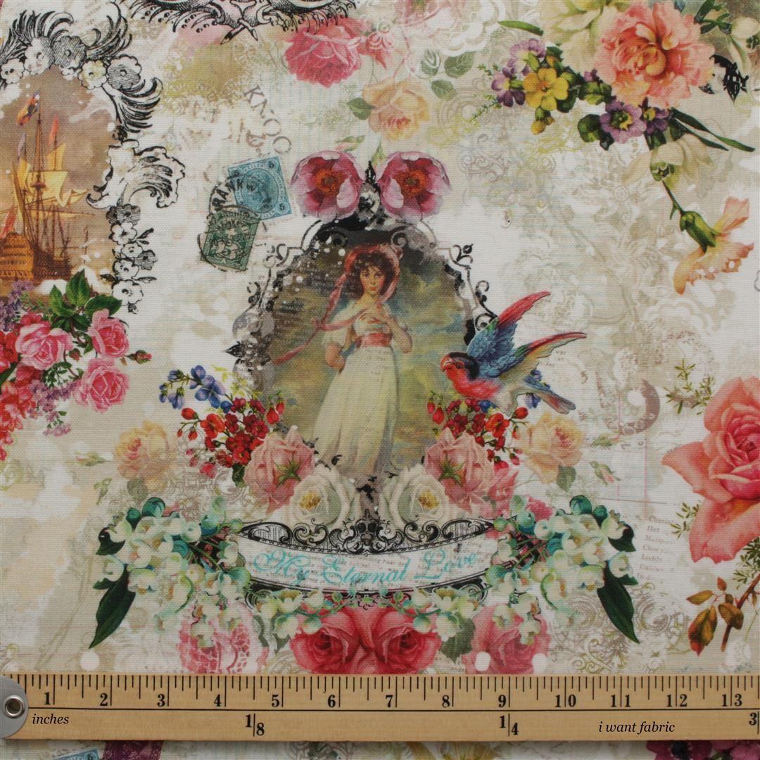 Full Colour Vintage Digital Print Fabric I Want Fabric
