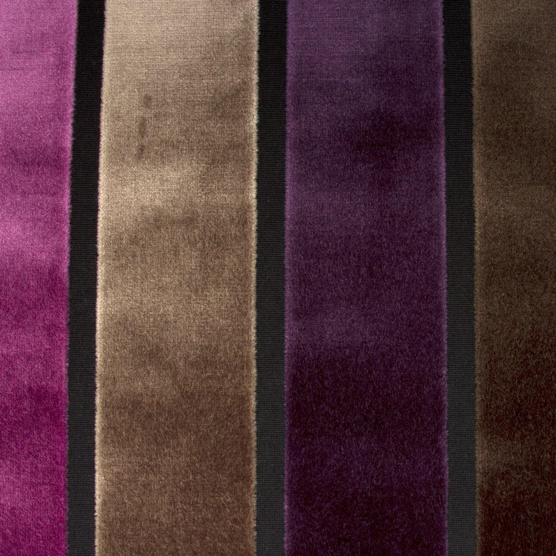 Luxury Raised Purple Brown Stripe Velvet Upholstery Fabric