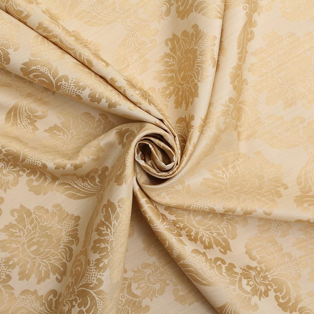 Floral Damask Dupion Slubbed Faux Silk Curtain Fabric