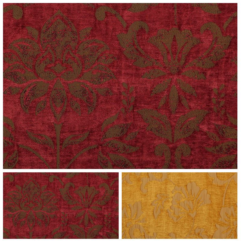 Burgundy Gold Reversible Tapestry Curtain Fabric