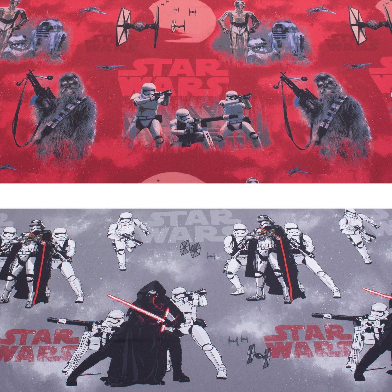 Kids Star Wars Digital Print Polycotton Fabric In Red Grey