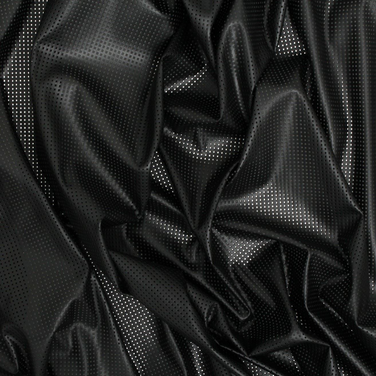 Perforated Leather Black Lycra Stretch Clothing Fabric I