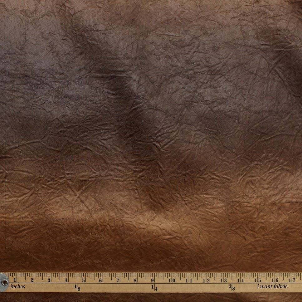 Distressed Crushed Vinyl Faux Metallic Leather Fabric I
