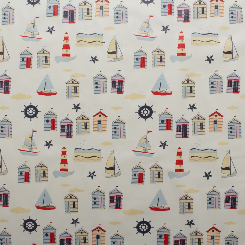 Vintage Beach Hut Seaside Oilcloth Fabric