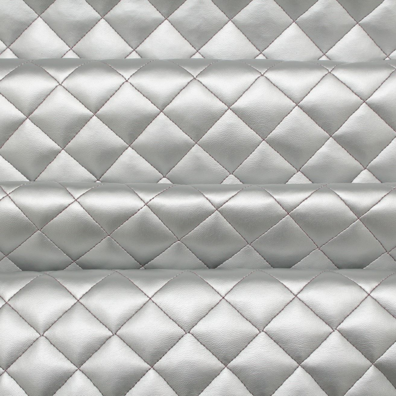 Diamond Quilted Padded Faux Leather Upholstery Fabric I