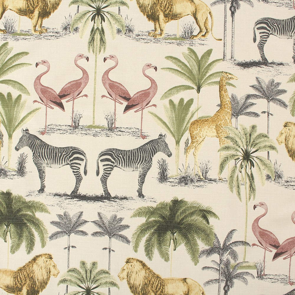 Jungle Animals Trees Tapestry Print Cotton Panama Fabric