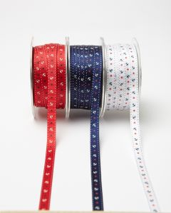 "Grossgrain Anchors and Stars Nautical Print 3/8"" Ribbon"