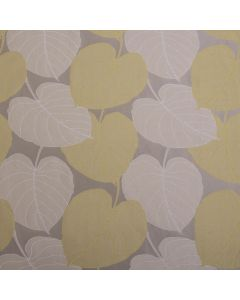 Lucca Floral Leaf Jacquard Satin Curtain Fabric - Lime Coffee