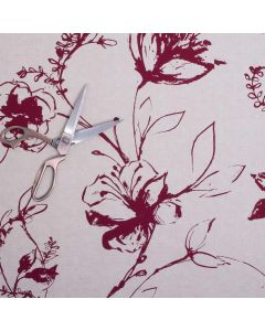 Lynette 100% Cotton Floral Upholstery Fabric - Ruby