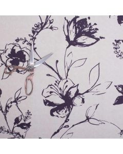 Lynette 100% Cotton Floral Upholstery Fabric - Aubergine