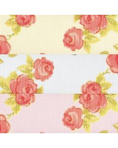 25mm Grosgrain With Chintz Roses Print Ribbon