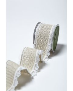 Jute Hessian Lace Edge Ribbon