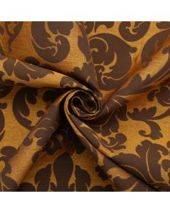Brown and Golden Floral Jaquard Upholstery Fabric