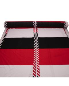 Tracer Red White Black Striped Cotton Fabric