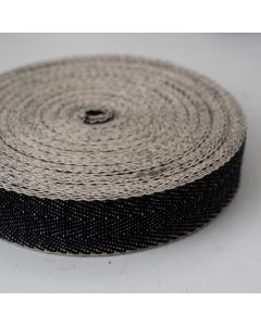 Black and White Herringbone Strong Upholstery Webbing 2""
