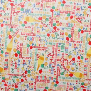 Fun Celebration Birthday Party Wipe Clean Oilcloth Fabric