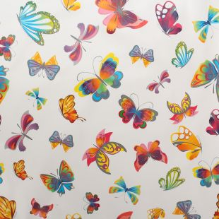 Butterfly Print Wipeclean Kitchen Tablecloth Oilcloth Fabric