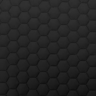 Quilted Faux Leather Fabric -  Hexagon Stitch - Black