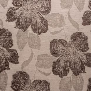 Chari Taupe Floral Chenille Upholstery Fabric