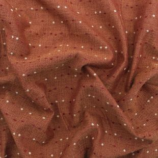 Juniper Rust Faux Silk Jacquard Spot Curtain Fabric
