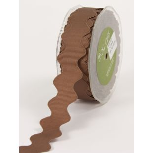 "Gross Grain Ric Rac 1"" Ribbon - Brown"