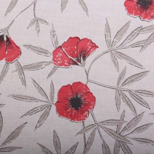 """Harlequin """"Appella"""" Red Poppy Print Upholstery Fabric 6.5 Metres"""