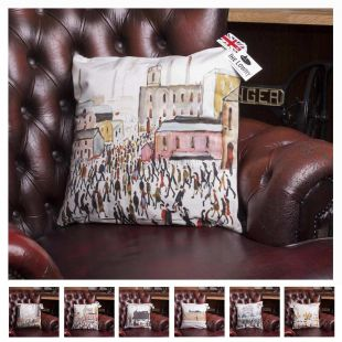 L.S.LOWRY Famous Artworks Designed Cushion Covers In Six Superb Theme Soft Linen Feel Designer Artistic Cushion Covers