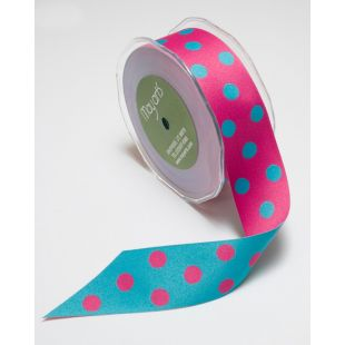 Solid Reversible Polkadot 1Inch Ribbon
