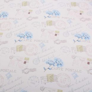 #XL Post12.8m – Postale Letter Stamp Floral Upholstery Fabricale ROLL