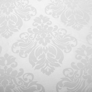 Floral Damask Faux Silk Jacquard Curtain Fabric - White