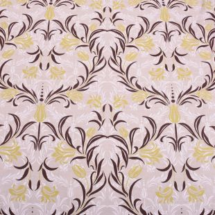 Oak 100% Cotton  Slubbed Linen Look Upholstery Fabric - Amour Floral