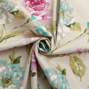 Watercolour Floral Tartan Check Linen Cotton Panama Upholstery Fabric