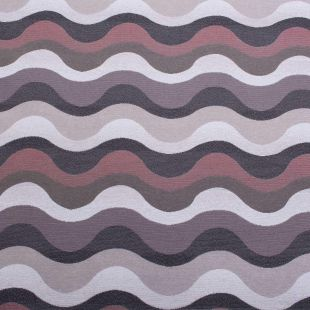 Concerto Linen Look Double Jacquard Wave Designer Fabric For Upholstery - Ice & Berry
