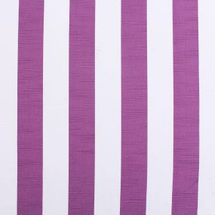 Aubergine 100% Cotton  Slubbed Linen Look Upholstery Fabric - Beau Stripe