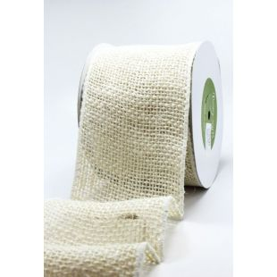 Burlap Wired Wide Ribbon 4""