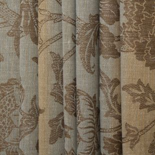 Blue Brown Floral Vintage Curtain Fabric