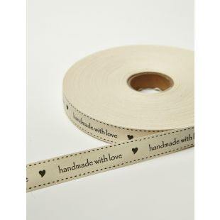 Ivory Canvas Printed Ribbon - Handmade With Love