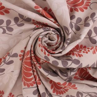 Anthos Woven Floral Beige Terracotta Upholstery Fabric