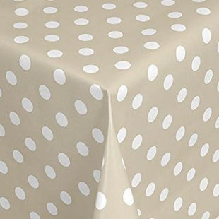 Large Polka Dot Pvc Oilcloth Vinyl Fabric Wipe Clean Tablecloths [Beige]