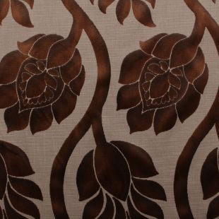 Chocolate Floral Soft Raised Velvet Sofas Cushion Upholstery Fabric