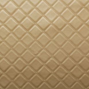 Luxury Bentley Stitch Diamond Embossed Faux Leather Upholstery Fabric - Gold