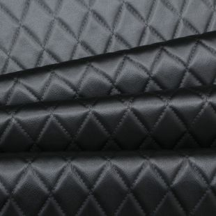 Diamond Stitch Embossed Padded Car Upholstery Faux Leather Fabric