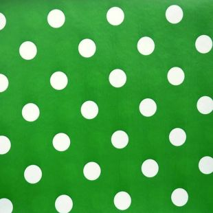 Large Polka Dot Pvc Oilcloth Vinyl Fabric Wipe Clean Tablecloths [Green]