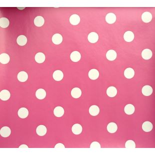 Large Polka Dot Pvc Oilcloth Vinyl Fabric Wipe Clean Tablecloths [Pink]