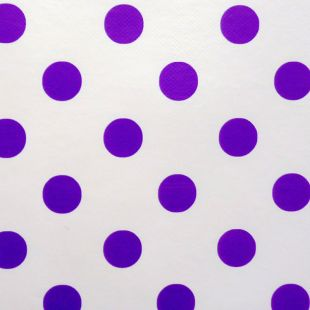 Large Polka Dot Pvc Oilcloth Vinyl Fabric Wipe Clean Tablecloths [Purple & White]