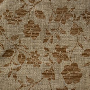 Beige BasketWeave Florals Upholstery Furnishing Fabric