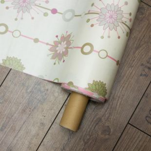 Pink and Green Floral Oil Cloth Lightweight Furnishing Fabric