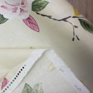 Painted Florals Cream Cotton Lightweight Furnishing Fabric