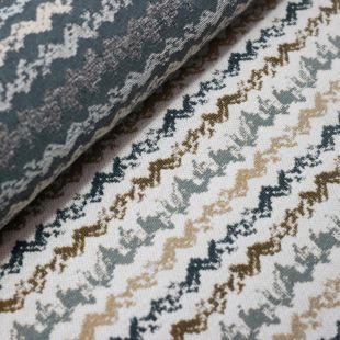 Blue Abstract Zig-Zag Weave Upholstery Furnishing Fabric