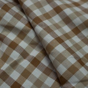 Mixed Brown Checked Plait Lightweight Furnishing Fabric